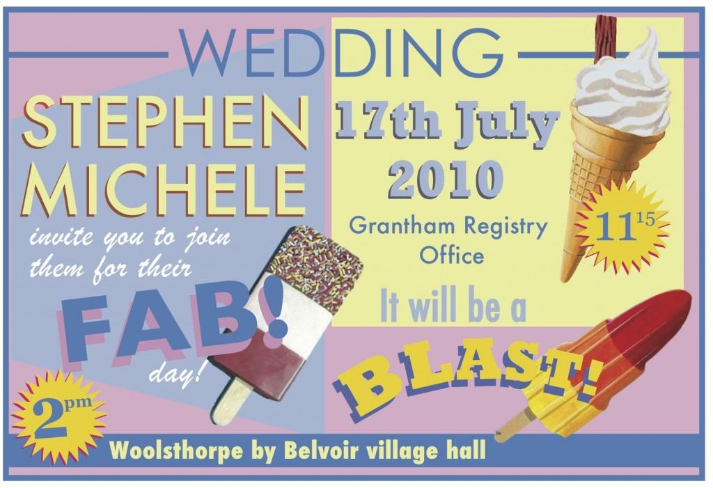 retro 1950 ice cream wedding party invitation design