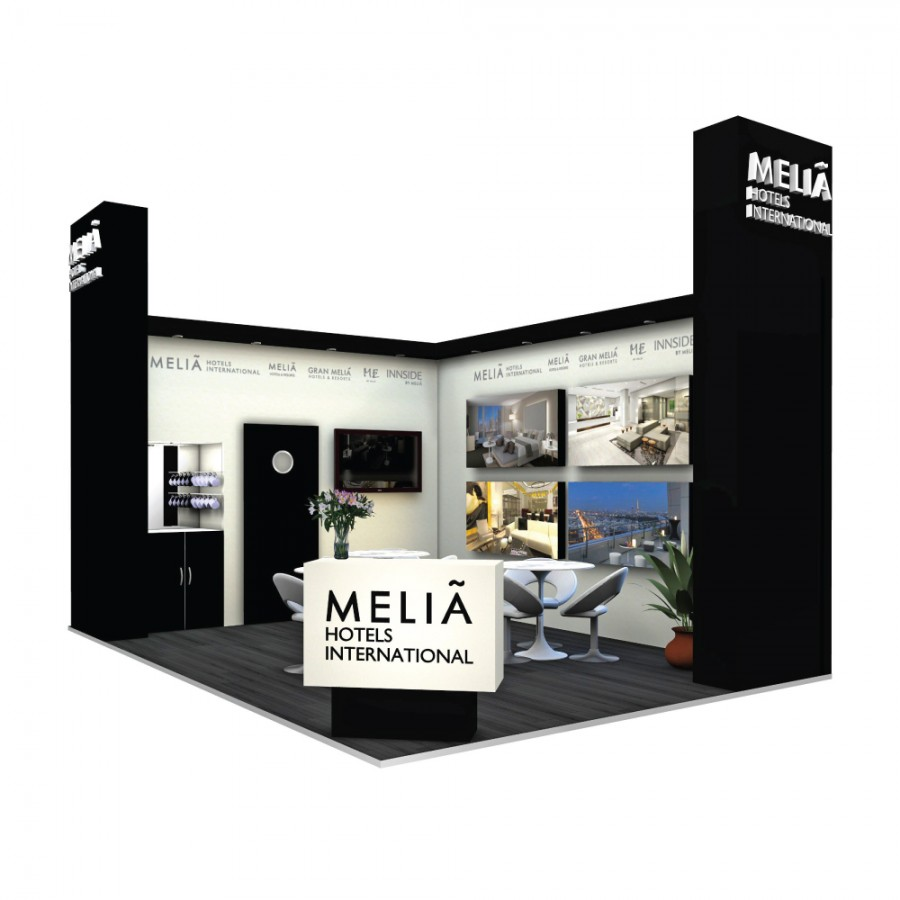 Melia-Hotels space only bespoke exhibition stand design