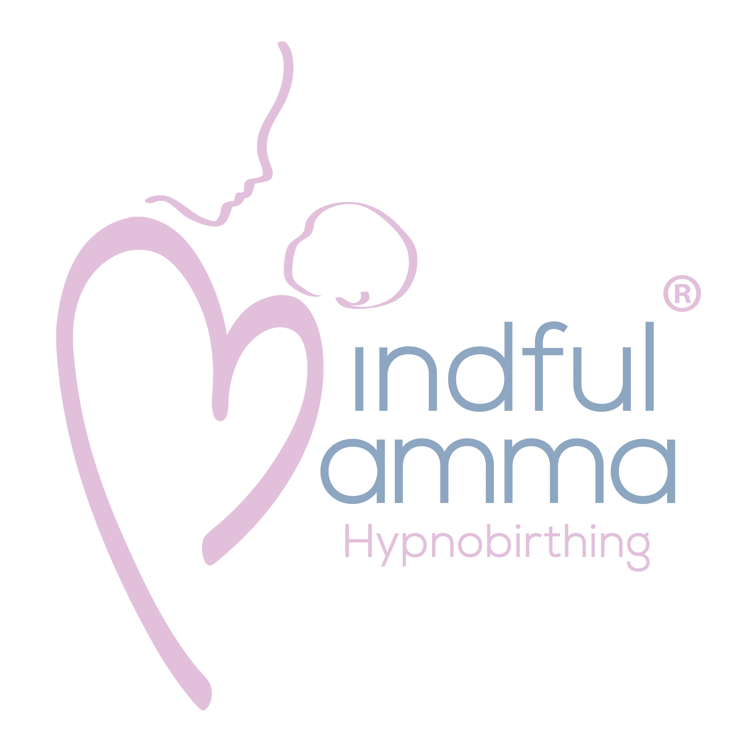 Mindful Mamma Logo Design pink heart mum and baby