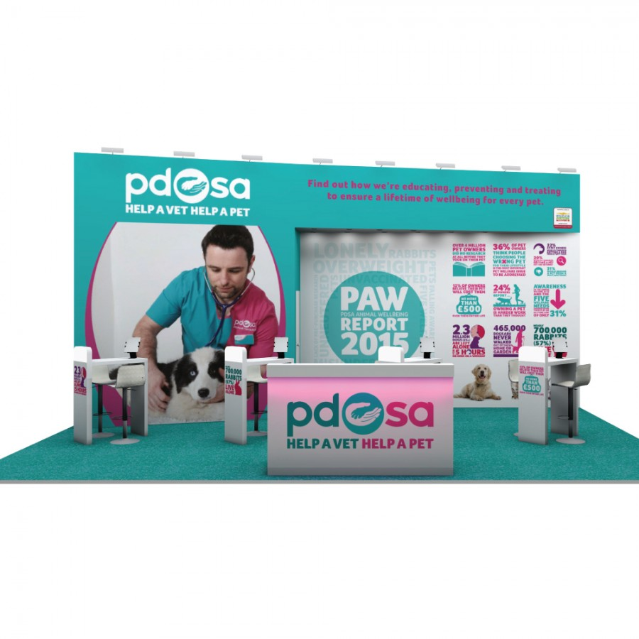 PDSA space only bespoke exhibition stand design