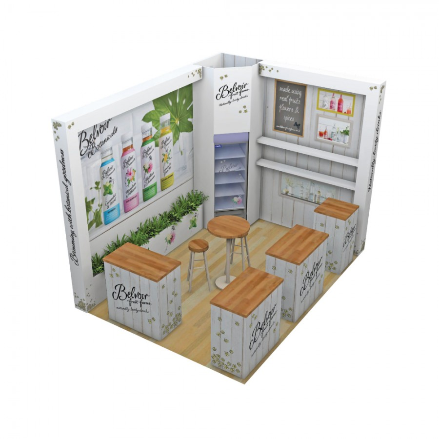 Belvoir Fruit Farms space only bespoke exhibition stand design