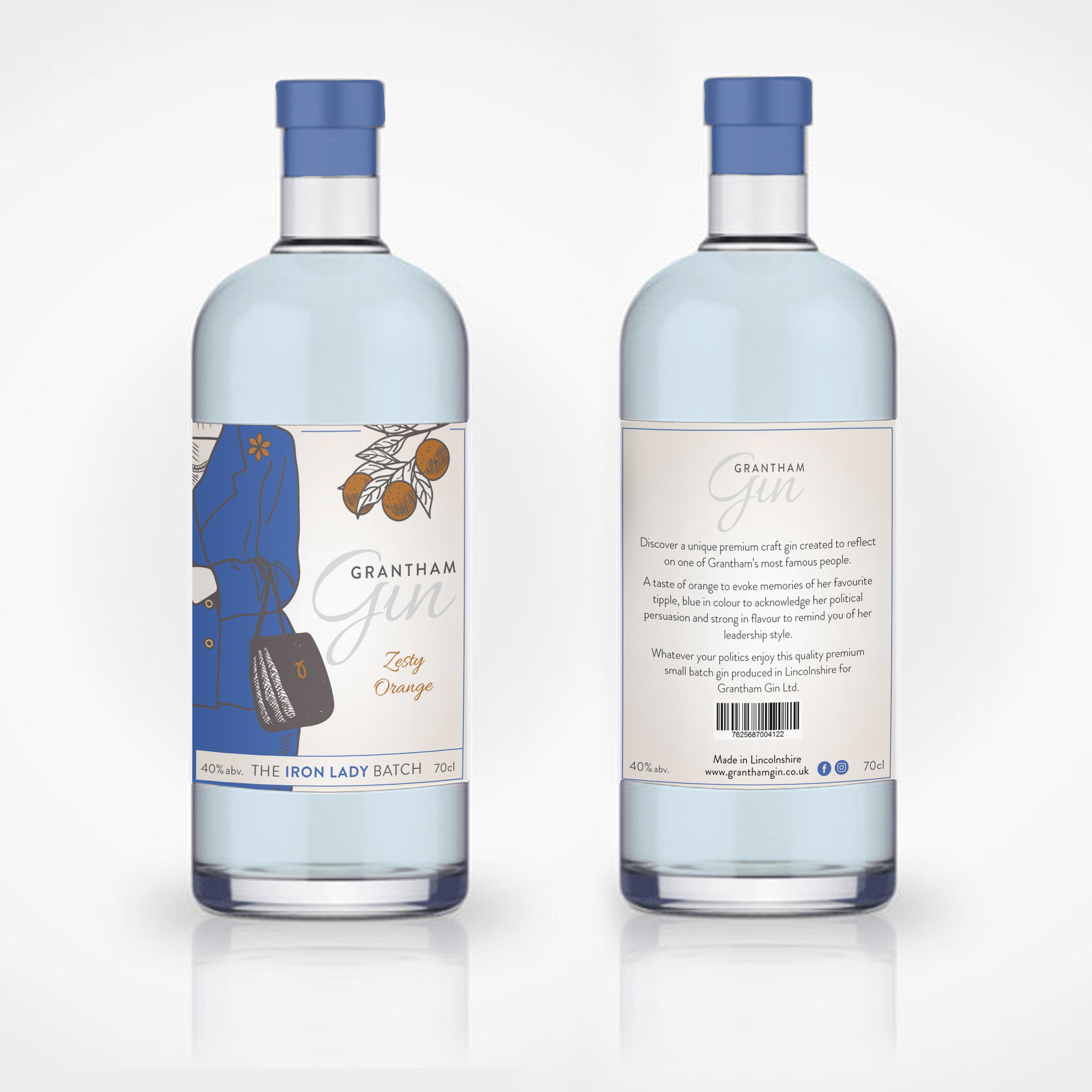 Iron Lady Grantham Gin Label Design