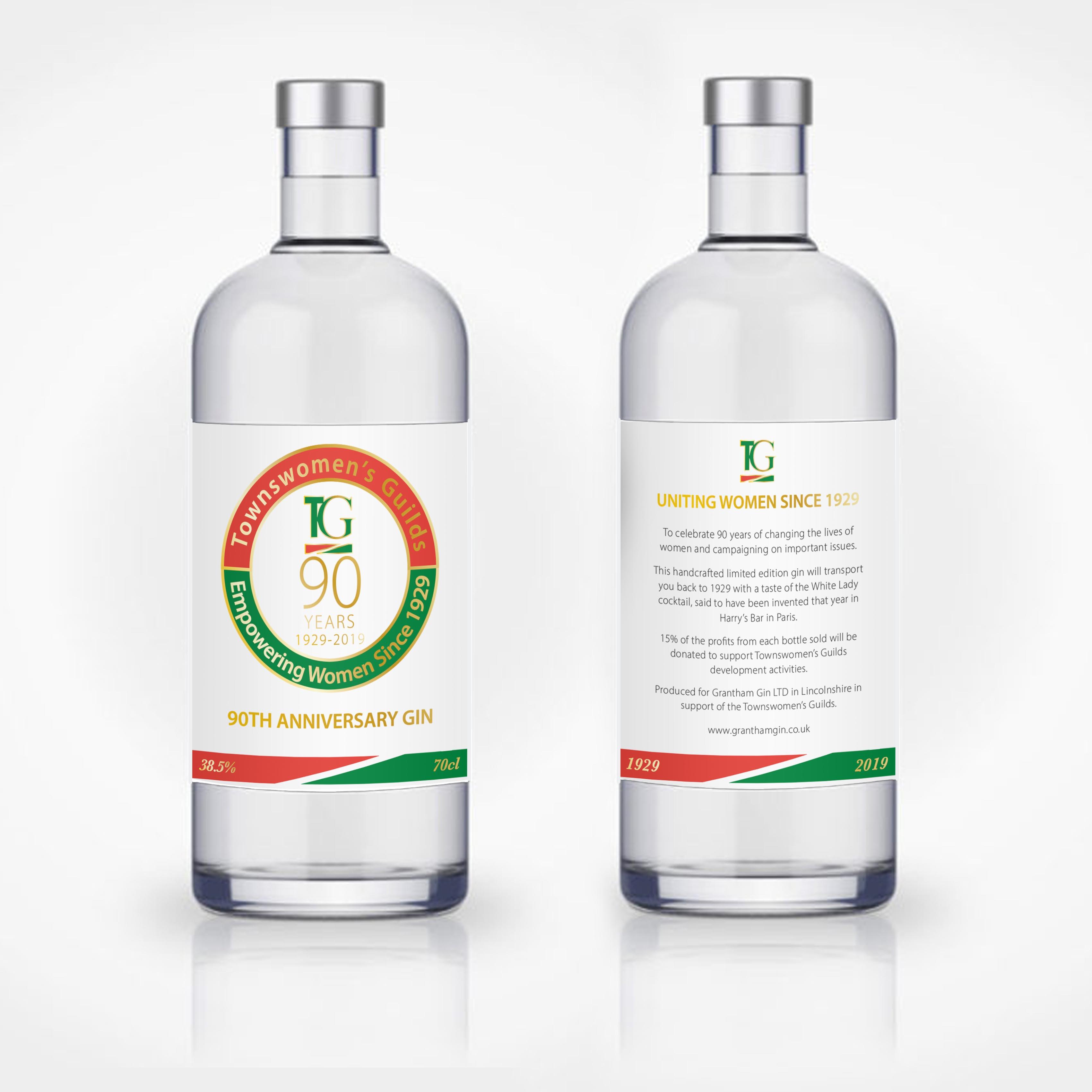 Townswomen Guilds 90th Anniversary Gin Label Design