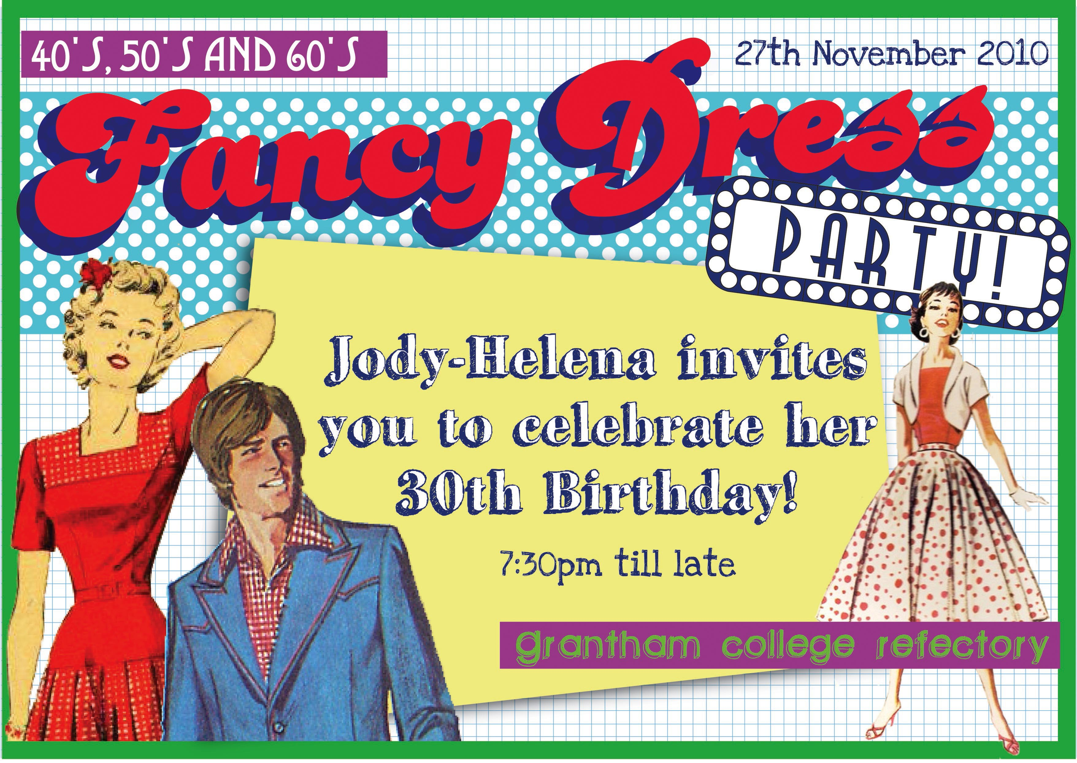 fancy dress bespoke original party invitation