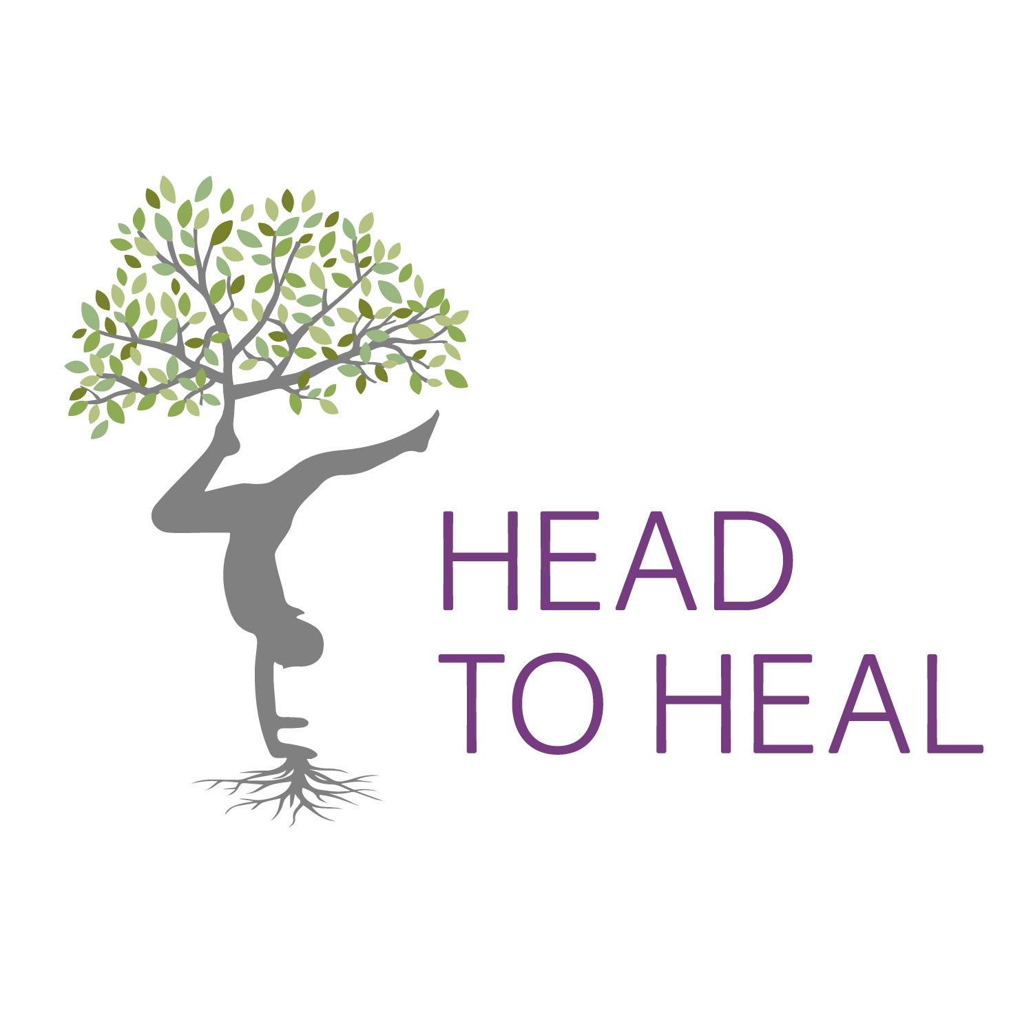 Head to Heal logo design featuring tree of life and yoga