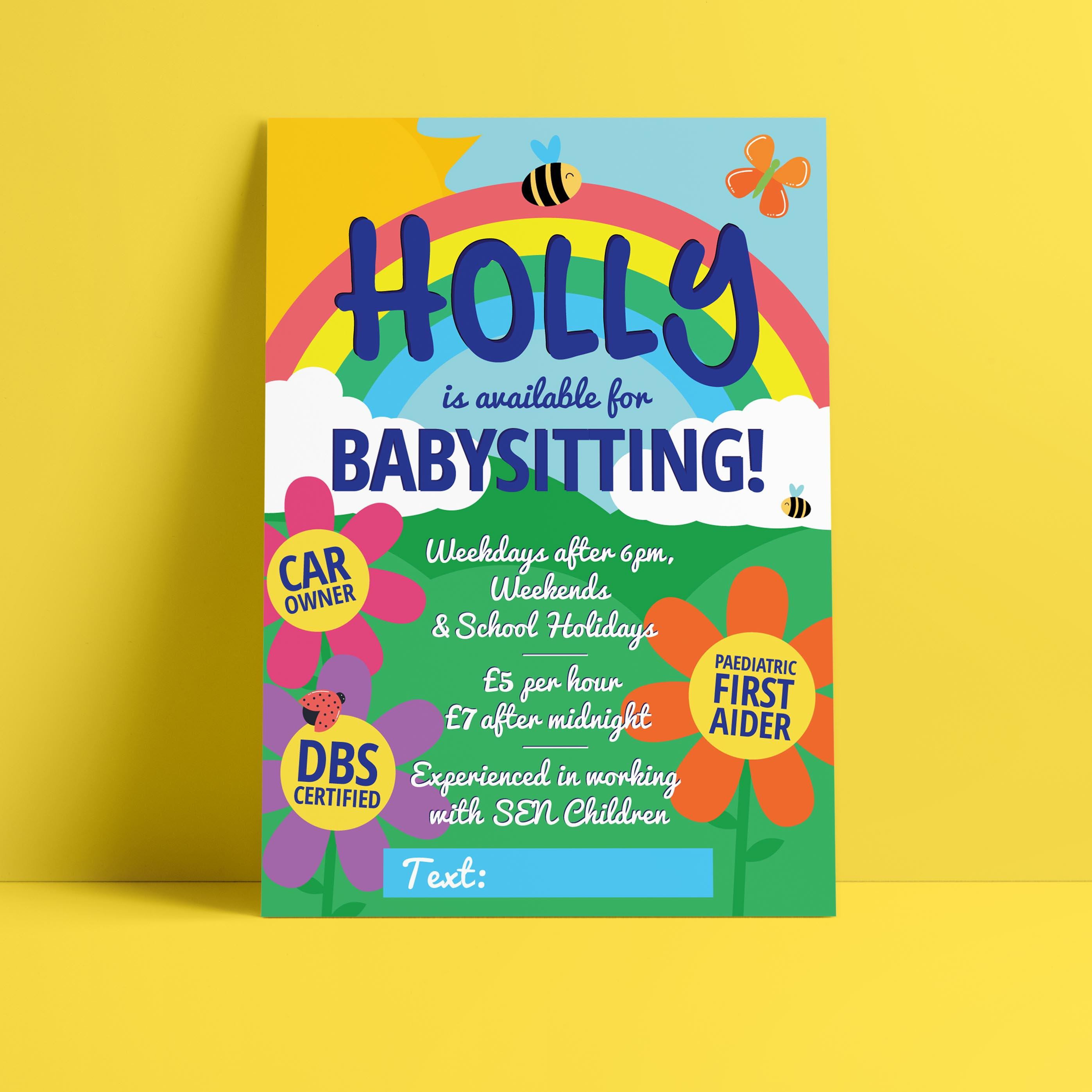 Bumble Babysitting Leaflet Design