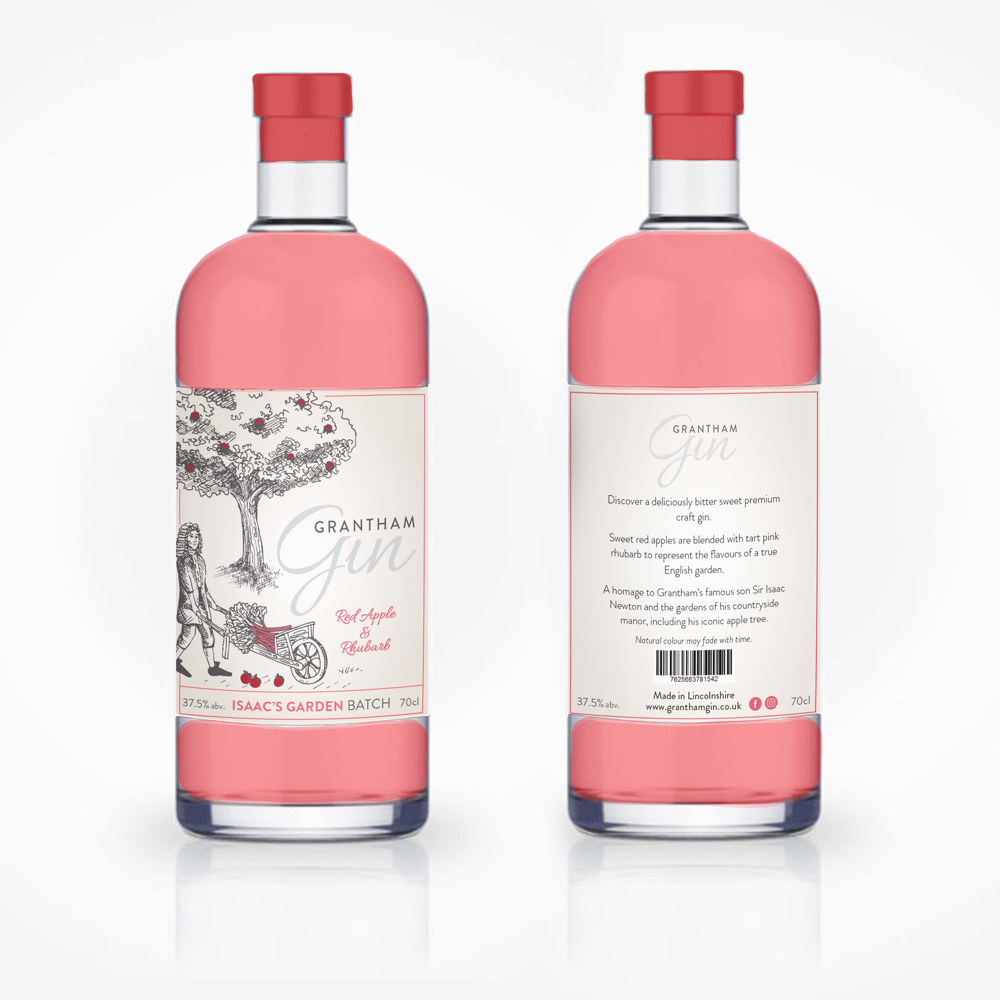 Isaac's Garden Grantham Gin label