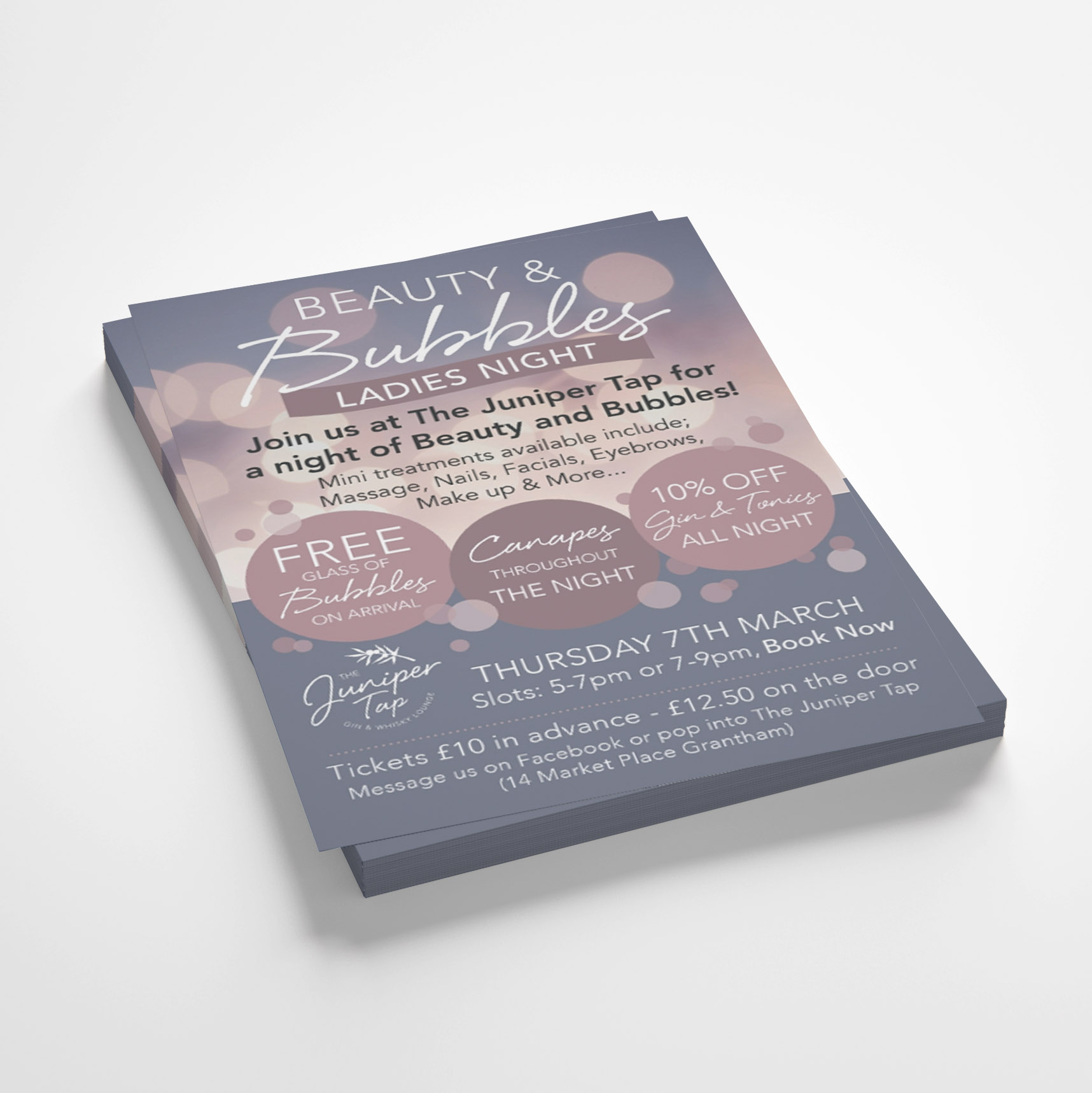 Leaflets for Beauty and Bubbles event